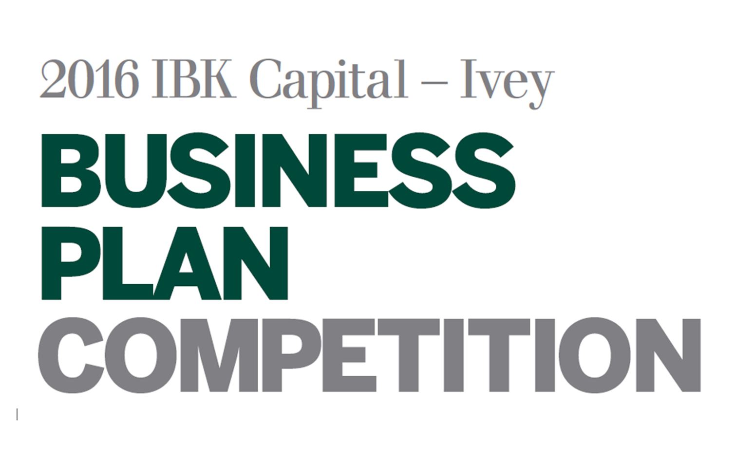 2016 IBK Capital - Ivey Business Plan Competition