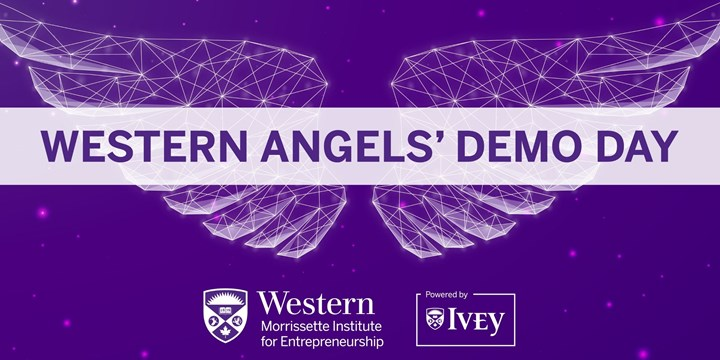 Western Angels Demo Day Banner With Angel Wings